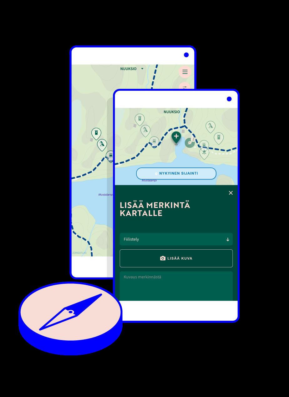 Retkikompassi being used on a smartphone