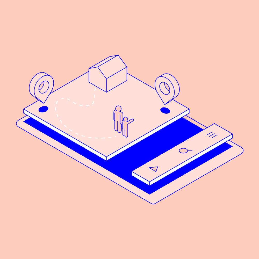 Piirretty matkapuhelin, jonka ruudulla näkyy interaktiivinen kartta